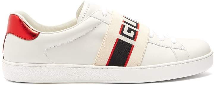 Gucci Ace jacquard-stripe leather trainers