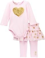 Juicy Couture Glitter Heart Bodysuit & Skegging Set (Baby Girls)