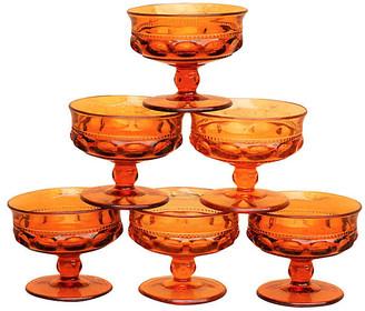 One Kings Lane Vintage Amber Glass Dessert Dishes - Set of 6