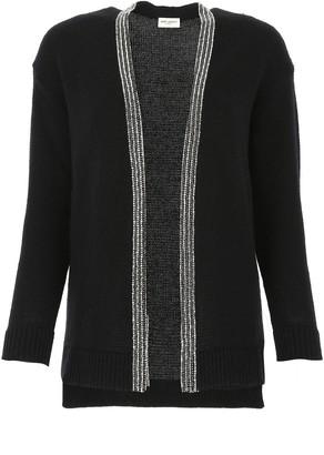 Saint Laurent Embellished Knitted Cardigan