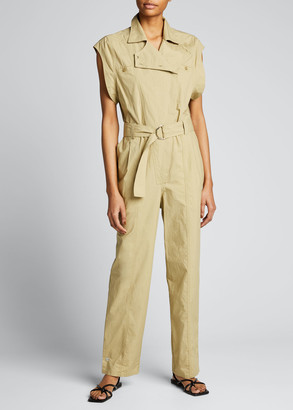 LES COYOTES DE PARIS Randi Belted Cotton Jumpsuit