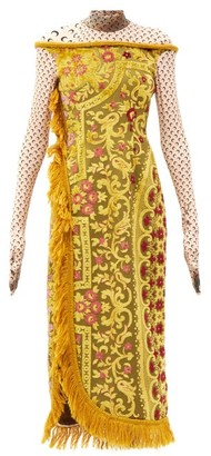 Marine Serre Upcycled Floral-jacquard Midi Dress - Yellow