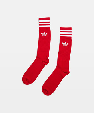 adidas Solid Crew Socks 3 Pack Red/Burgandy/White