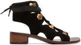 See by Chloe Black Suede Lace-up Sandals