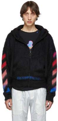 Off-White Off White Black and Multicolor Brushed Mohair Diag Hoodie