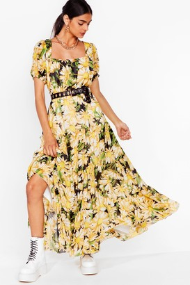 Nasty Gal Womens sunflower print open back maxi dress - Black - 6