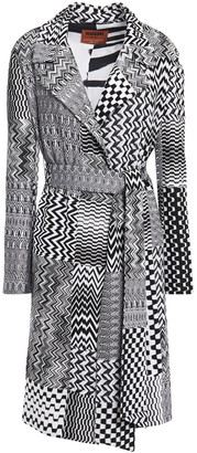 Missoni Belted Patchwork-effect Crochet-knit Coat