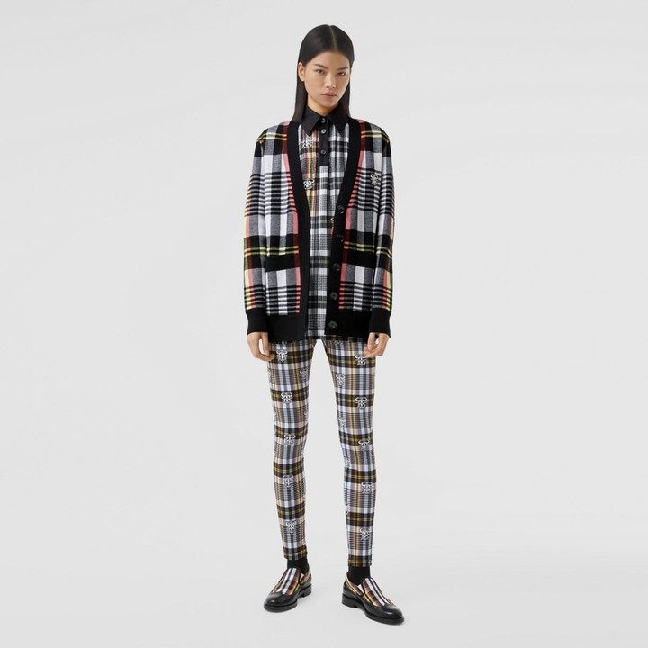 Burberry Check Technica Merino Woo Jacquard Cardigan