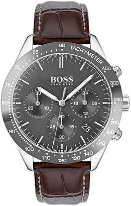 HUGO BOSS Men's Talent Chronograph Watch with Leather Strap, Gray/Brown