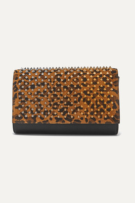 Christian Louboutin Paloma Spiked Leopard-print Suede And Leather Clutch - Tan