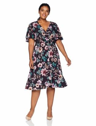 Donna Morgan Women's Plus Size Faux Wrap Jersey Dress