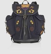 Dries Van Noten Men's Appliquéd Flannel Backpack-NAVY, BLACK
