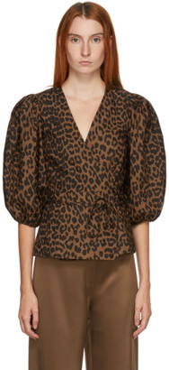 Ganni Brown and Black Wrap Poplin Blouse