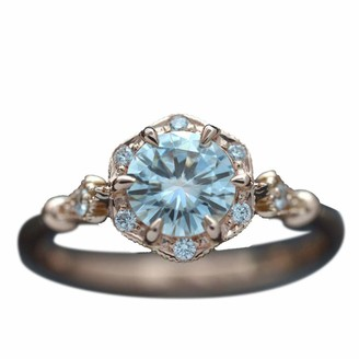 Love Letters Ring for Women Gold Vintage Aquamarine Gemstone Ring Wedding Jewelry Princess Wedding Ring