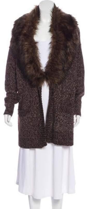 Michael Kors Faux Fur-Accented Cardigan Brown Faux Fur-Accented Cardigan