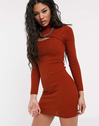 Asos Design DESIGN asymetric cut out high neck mini dress-Red
