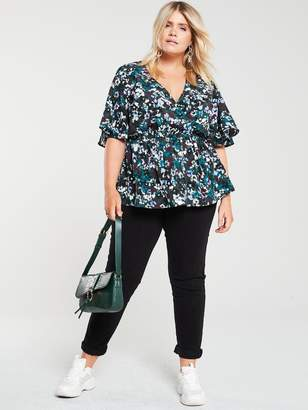 V By Very Curve Floral Wrap Blouse - Print