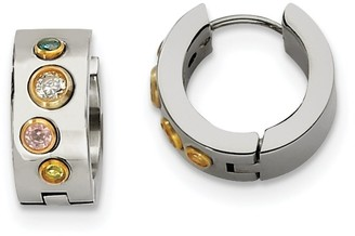 Chisel Stainless Steel Multicolor Cubic Zirconia and Yellow IP-plated Hinged Hoop Earrings