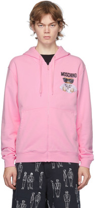 Moschino Pink Embroidered Logo Hoodie