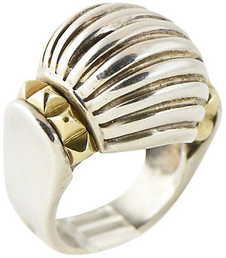 One Kings Lane Vintage Caviar Lagos Silver & Gold Dome Ring - Owl's Roost Antiques