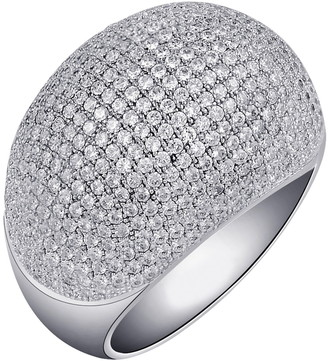 Lafonn Platinum Bonded Sterling Silver Pave Simulated Diamond Dome Ring