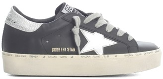 Golden Goose Hi Star Leather Upper Laminated Star And Heel
