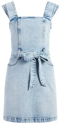 Alice + Olivia Jeans Gorgeous Belted Denim Apron Dress