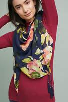 Anthropologie Floral Tasseled Scarf
