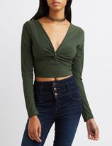 Charlotte Russe Plunging Twisted Crop Top