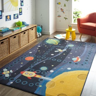 Mohawk Home Prismatic Space Rocket Multi Transitional Theme Kids Precision Printed Area Rug, 5'x8', Navy & Yellow