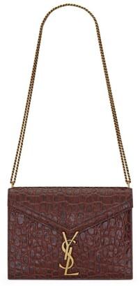 Saint Laurent Croc-Embossed Cassandra Chain Shoulder Bag
