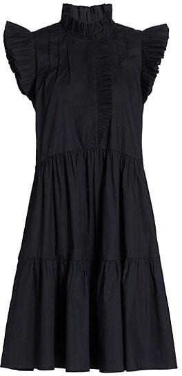 Sea Pleated Flutter-Sleeve Dress
