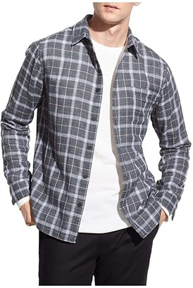 Vince Double Face Windowpane Plaid Shirt (Medium Heather Grey) Men's Clothing