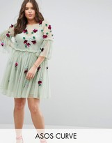Asos Embellished Fluted Sleeve Tulle Smock Dress With Embellishement