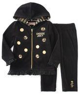 """Juicy Couture juicycoutureTM 2-Piece """"Choose Juicy"""" Velour Hoodie and Pant Set in Black"""