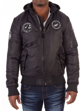 X-Ray Men's Patched Bomber Jacket with Detachable Hood