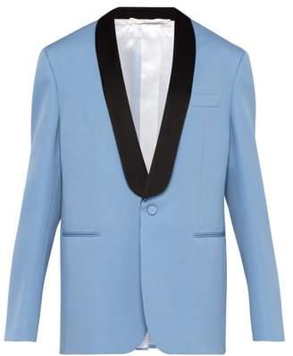 Calvin Klein Silk-satin Lapel Wool Tuxedo Jacket - Mens - Black Blue