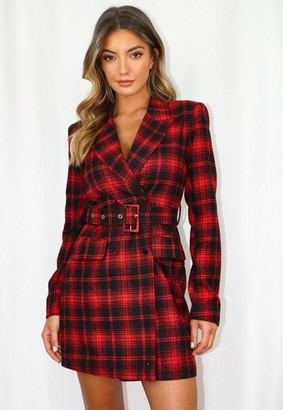 Missguided Red Plaid Belted Blazer Dress