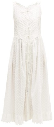 Horror Vacui Valentin Lace-up Embroidered-cotton Midi Dress - Womens - White