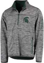 G Iii Men's G-III Sports by Carl Banks Heather Gray Michigan State Spartans Fast Pace Half-Zip Pullover Jacket