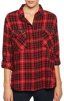 Sanctuary Boyfriend Studded Cotton Plaid Shirt
