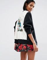 Anna Sui Baseball Jacket with Signature Print