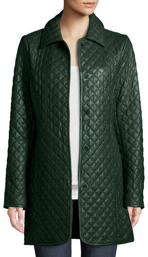 Neiman Marcus Leather Collection Quilted Lamb Leather Trench Coat, Plus Size