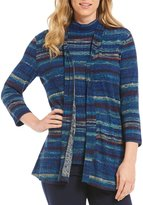 Allison Daley Open Front Print Space-Dye Rib Cardigan