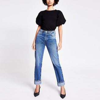 River Island Blue straight super high rise jeans