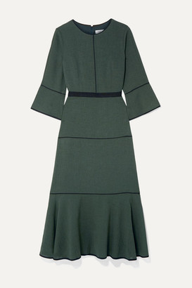Cefinn Tyler Grosgrain-trimmed Voile Midi Dress - Dark green
