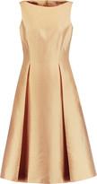 Michael Kors Pleated metallic silk and wool-blend dress