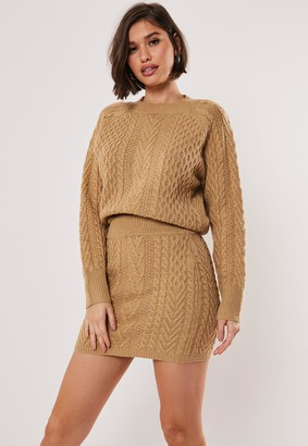 Missguided Tan Co Ord Cable Crew Neck Knitted Jumper