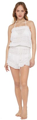 Polo Ralph Lauren Eyelet Ruffle Romper (White) Women's Swimsuits One Piece