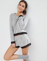 Asos Lace Trim Long Sleeve & Short Pajama Set